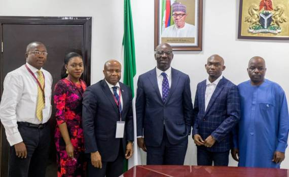 Edo State Governor, Mr. Godwin Obaseki (3rd from right); Permanent Secretary, Government House, Mr. Bright Emoedume (right); Chief of Staff to the Governor, Mr. Taiwo Akerele; Country Head, United Nations Institute of Training and Research (UNITAR), Nigeria, Dr Larry Boms (3rd from left); Program Officer, UNITAR, Miss. Letambari Feyii and Program Officer, UNITAR, Mr. Francis Ajua (left), after the signing of a Memorandum of Understanding (MoU), between the Edo State government and UNITAR on the establishment of a training center for civil servants, in Government House, Benin City, at the weekend.