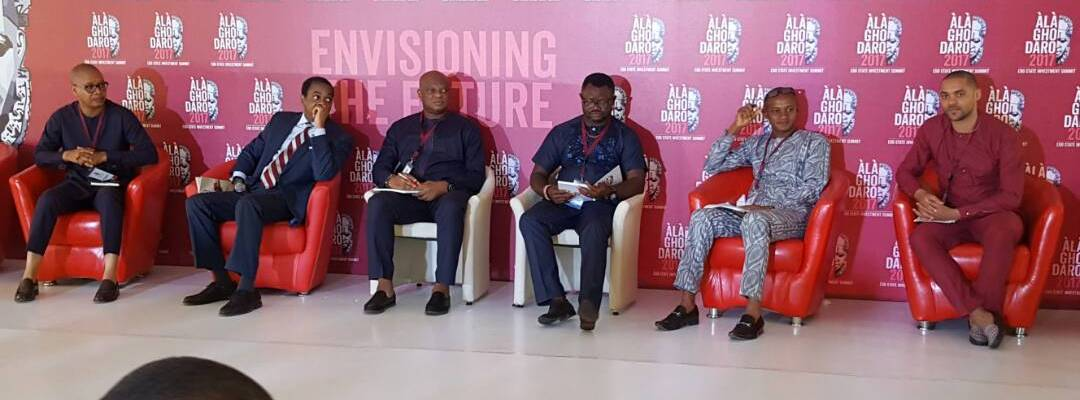 L-R: Victor Ehikhamenor; Former Governor of Cross River State, Donald Duke; Tayo Amusan; Lancelot Oduwa Imasuen with other panelists at the Creative Industry Session of the Alaghodaro Investment Summit in Benin City, on Saturday, November 11, 2017
