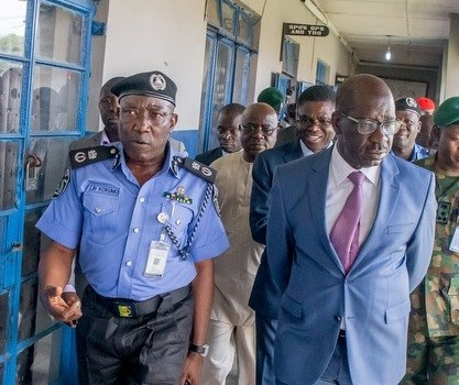L-R: Edo State Commissioner of Police (CP), Mr. Johnson Kokumo and Governor of Edo State, Mr. Godwin Obaseki, during the inspection of facilities at the State Police Command in Benin City, on Thursday, November 16, 2017