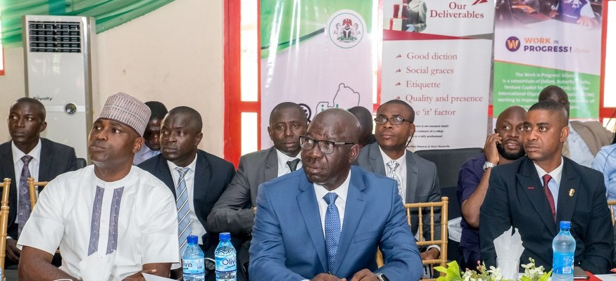 The Governor of Edo State Mr Godwin Obaseki (Middle), Commissioner for Wealth Creation, Cooperatives and Employment, Mr Emmanuel Usoh (right); and Commissioner for Youth and Special Duties, Mr Mika Amanokha (left )at the EdoJobs Summit in Benin City on Wednesday November 8, 2017