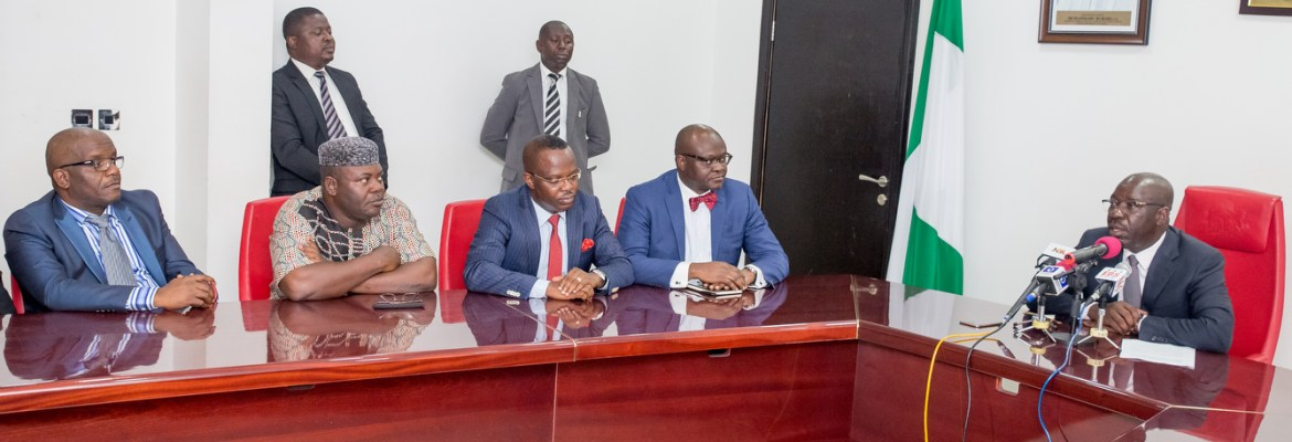 Edo State Governor, Mr. Godwin Obaseki (right); Commissioner for Agriculture and Natural Resources, Monday Osaigbovo, (2nd from left); Commissioner for Finance, Hon. Osagie Inegbedion (middle); Special Adviser on Agriculture, Prince Joe Okojie (2nd from right), Managing Director, Edo Geographic Information System Agency, Architect Frank Evbuomwan (left) during the inauguration of the Committee on Commercial Agricultural Credit Scheme (CACS), recently at the Government House, Benin City.