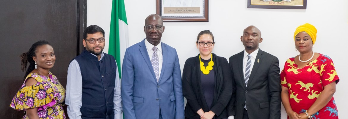 Edo State Governor, Mr. Godwin Obaseki (3rd from left); Senior Gender Consultant, World Bank, Nigeria, Wumi Asubiaro-Dada (left); Senior Rural Development Specialist, World Bank, India, Samik Sandar Das (2nd from left); Social Development Specialist, World Bank, Washington D.C., Rosa-Maria Martinez (3rd from right), Chief of Staff to the Governor, Taiwo Akerele (2nd from right); and Commissioner for Women Affairs and Social Development, Hon. Magdalene Ohenhen, (right), during the courtesy visit to the governor by the World Bank team at the Government House, in Benin City.