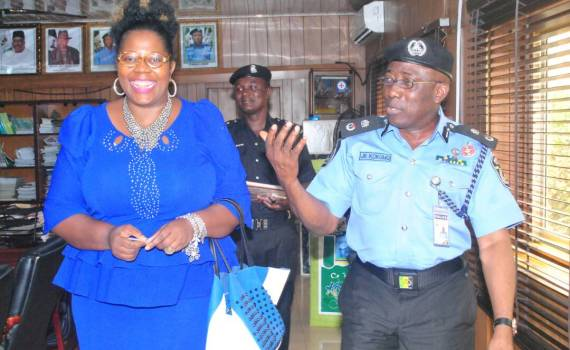 L-R: Acting Chairperson,  Edo State Universal Basic Education Board (SUBEB) and Special Adviser to the Governor on Basic Education, Dr. Joan Osa Oviawe and the Edo State Commissioner of Police,  Mr. Johnson Kokumo after a meeting to finalise arrangement on how to curb vadalism, theft and encroachment in public schools across Edo State, at the weekend