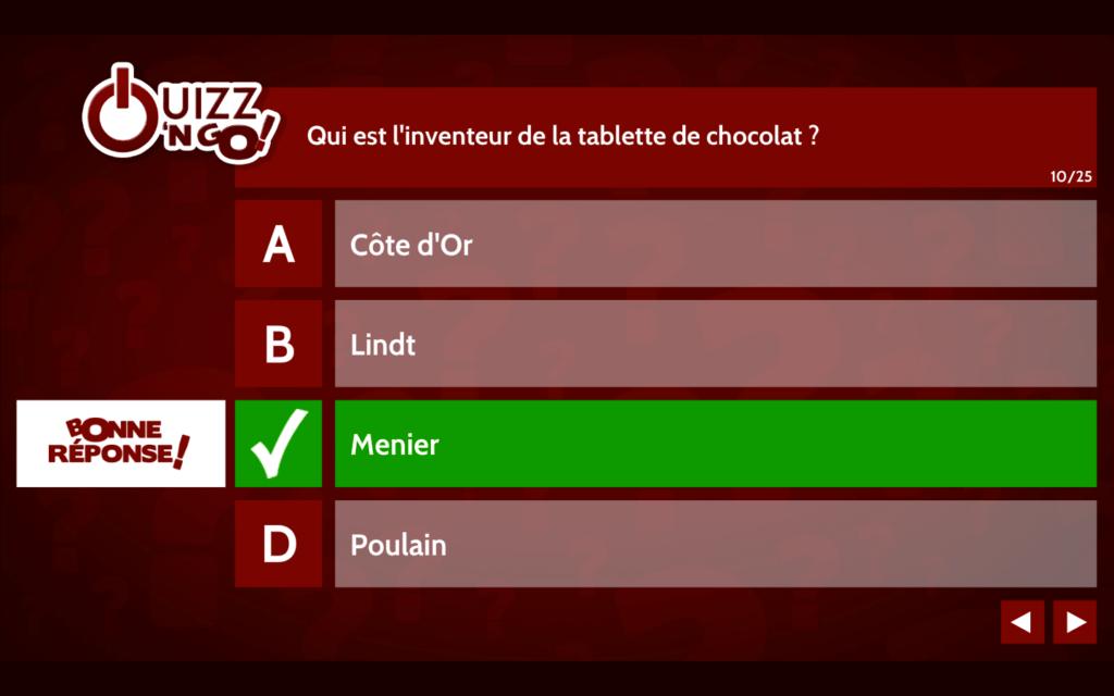 """Quizz'N Go : Jeu QCM pour Nestlé (thème """"Chocolats"""")"""