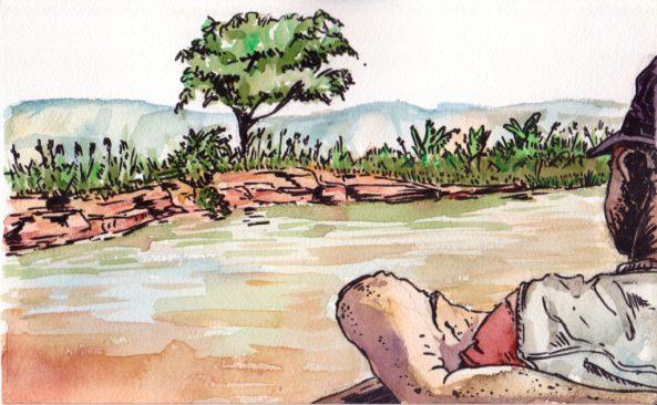 En pirogue sur le fleuve Tsiribihina