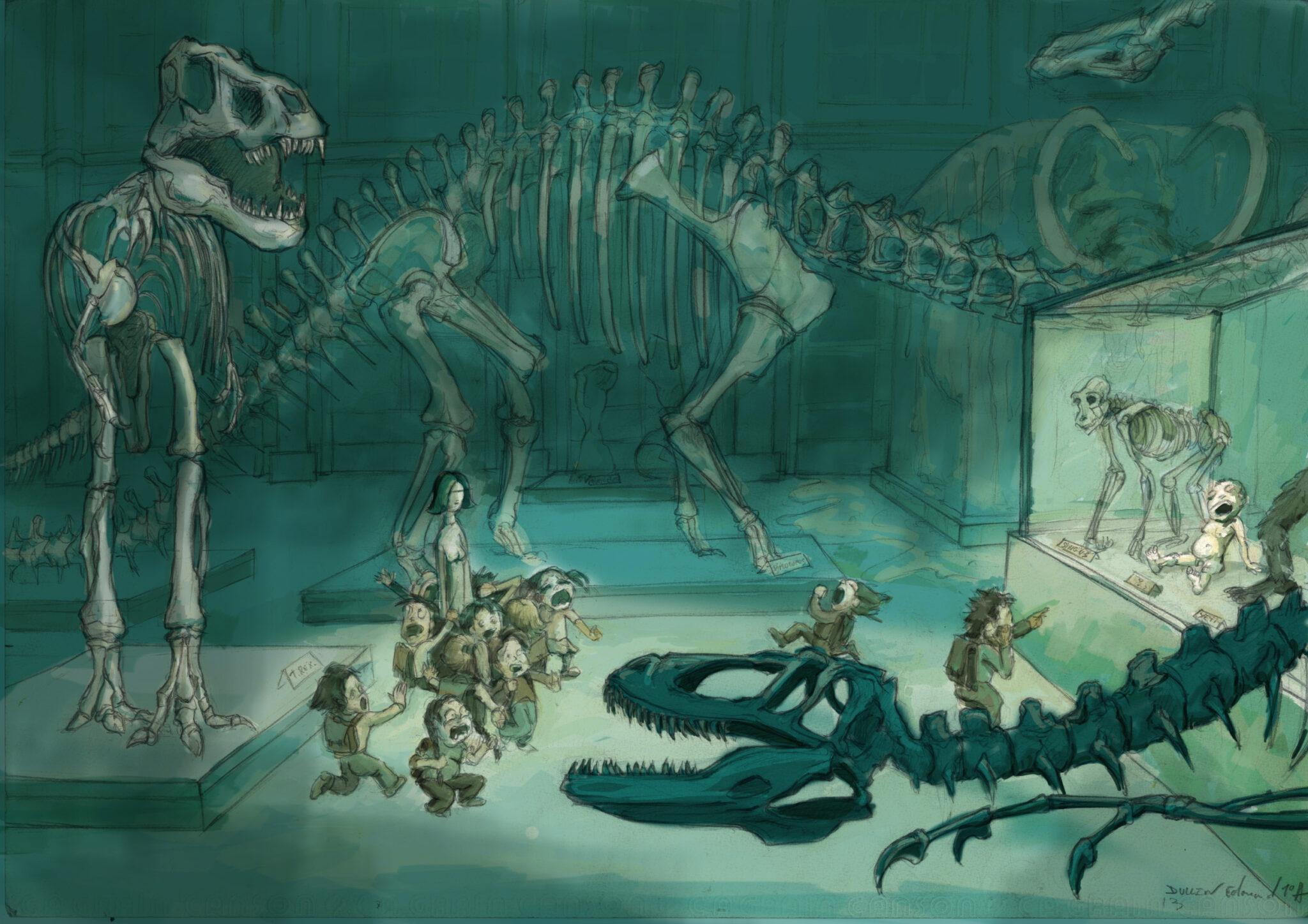 Sortie au muséum d'histoire naturelle (crayon, aquarelle)