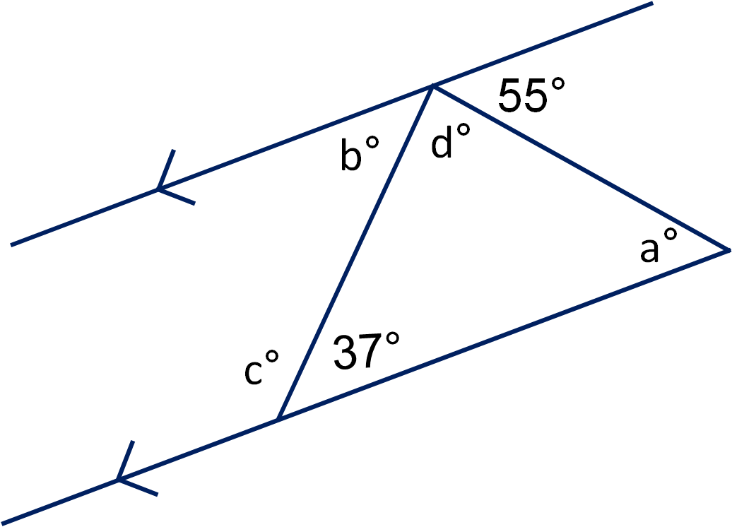 Geometry: Angles in Triangles and on Parallel Lines