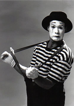 Mime artist -- not quite what you think about when I say mimetype but yeah... they're funny in the cartoons.