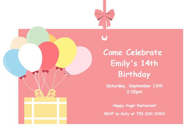 Balloon Birthday Invitation Card Free Balloon Birthday