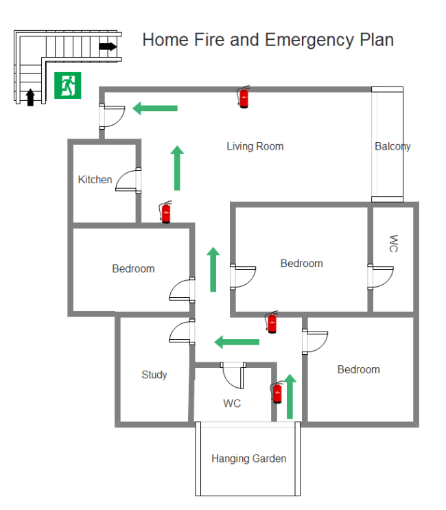 example of fire exit diagram single phase submersible motor starter wiring home and emergency plan free templates
