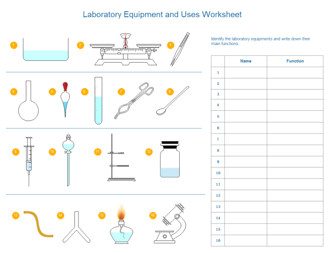 Identifying Lab Equipment Worksheet. Worksheets