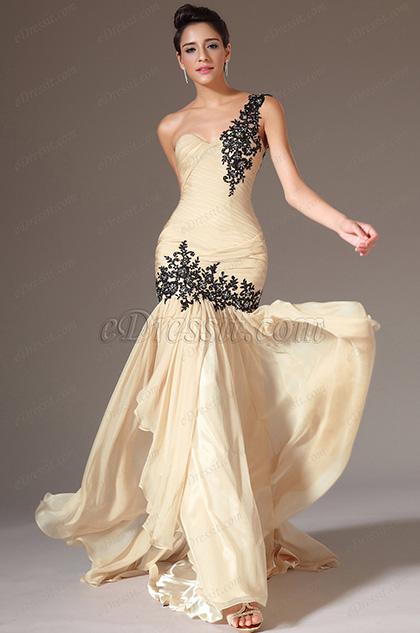 eDressit 2014 New Champagne One-Shoulder Sweetheart Formal Gown