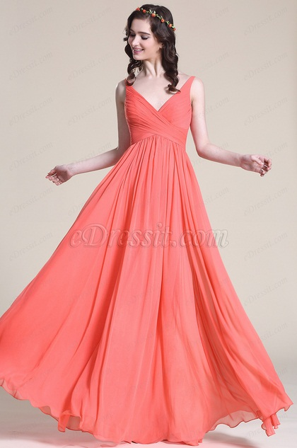 Sleeveless V Neck Coral Bridesmaid Dress Evening Dress
