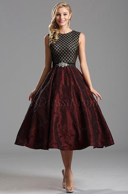Vintage Burgundy Tea Length Dress Cocktail Dress (X04151317)