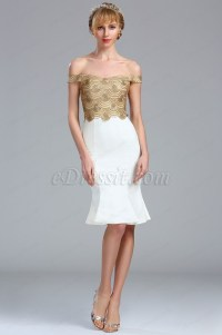 eDressit Gold and White Off the Shoulder Tight Lace Sequin ...