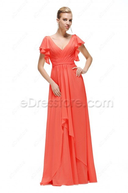 Coral Modest Bridesmaid Dresses with Sleeves Plus Size