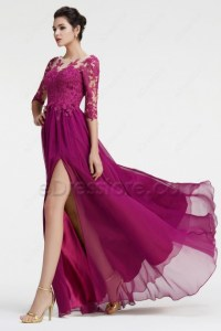 Magenta Bridesmaid Dresses Long Sleeves Modest Formal ...