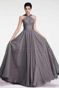 Halter Charcoal Bridesmaid Dresses