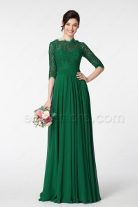 Emerald Green Modest Mother of the Bride Dress with ...