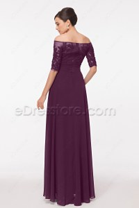 Off the Shoulder Modest Eggplant Mother of the Bride ...