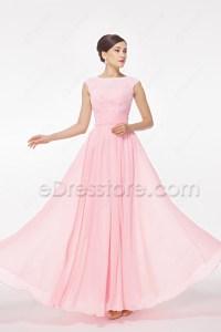 Modest Light Pink Bridesmaid Dress Cap Sleeves
