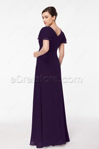 Modest Eggplant Purple Mother of the Bride Dress Plus Size