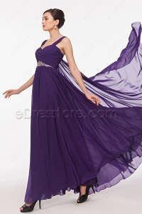 Straps Purple Flowing Formal Dresses Plus Size