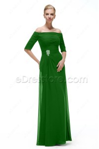Modest Emerald Green Mother of the Bride Dresses with Sleeves