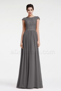 Modest Charcoal Grey Bridesmaid Dresses Cap Sleeves