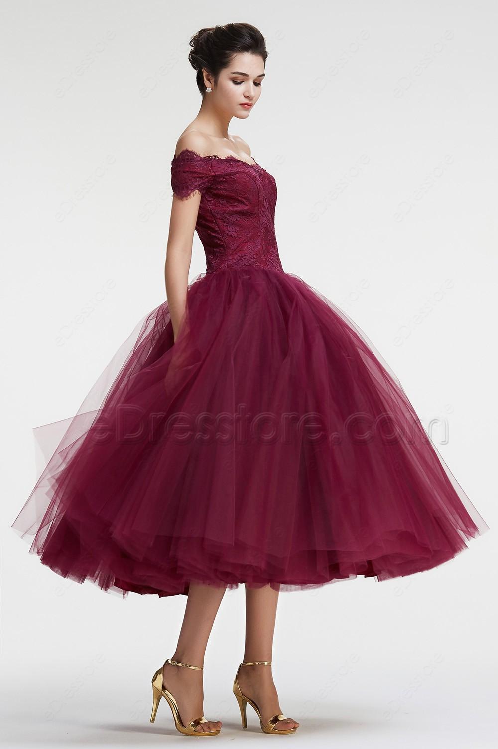Burgundy Off the Shoulder Ball Gown VIntage Prom Dresses