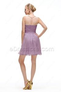 Dusty Lavender Short Bridesmaid Dresses