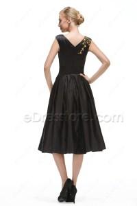 Black Cocktail Dresses Tea Length - Plus Size Prom Dresses