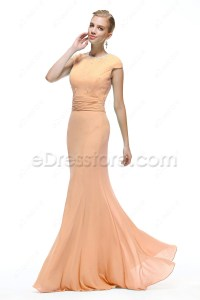 Mermaid Modest Peach Color Bridesmaid Dresses Cap Sleeves