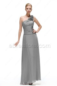 One Shoulder Silver Grey Mother of the Bride Dress