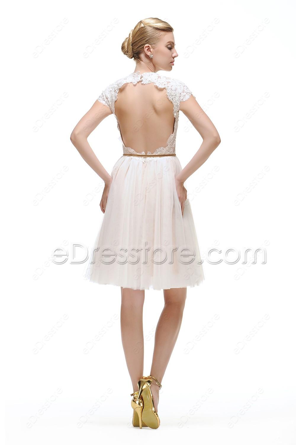 White Backless Short Prom Dresses Cap Sleeves