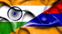 Waving flag of Armenia and India
