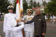 President of India presents President's Colour to the Submarine Arm of the Indian Navy