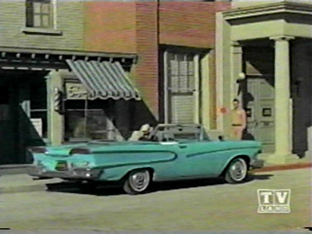 The Andy Griffith Show Barney drives a 1958 Edsel convertible back for a