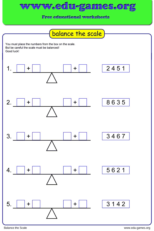 medium resolution of Math Balance Scale Worksheet