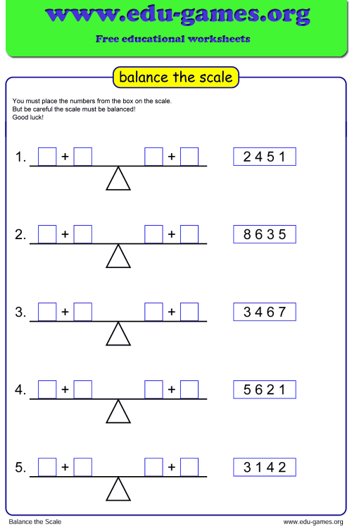 small resolution of Math Balance Scale Worksheet