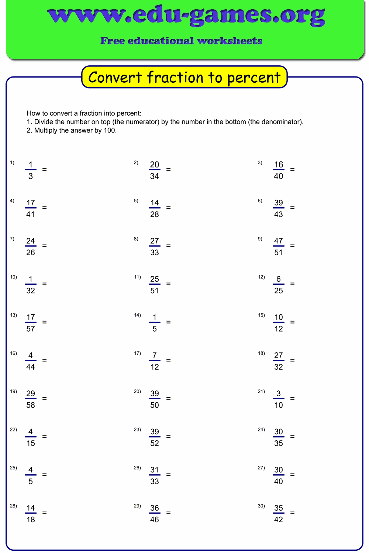 medium resolution of Convert fraction to percent worksheet maker   Free Printable Worksheets