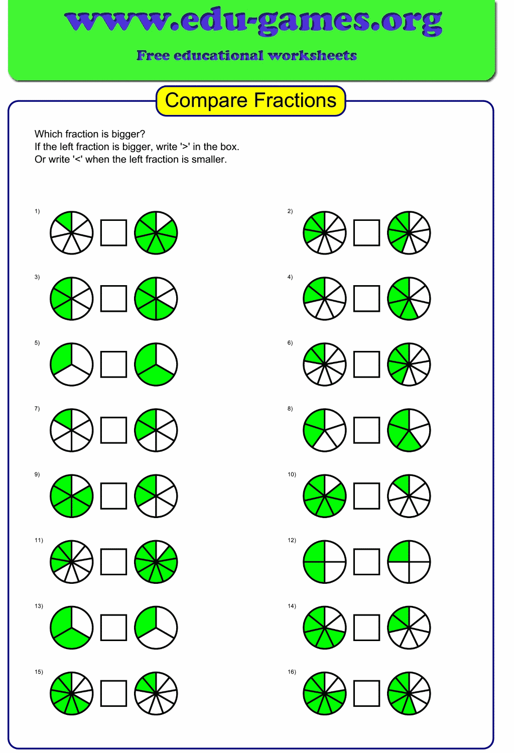 hight resolution of Compare Graphical Fractions Worksheet   Free Printable Worksheets