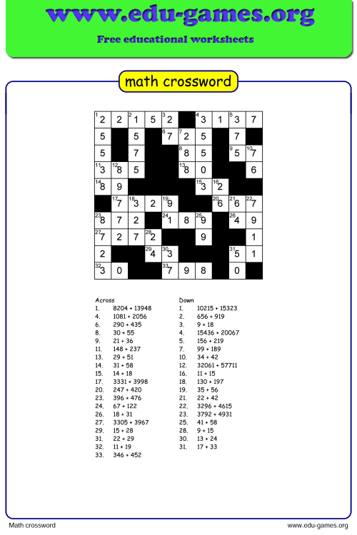 small resolution of Math Crossword Puzzle Maker - Free Printable Worksheets