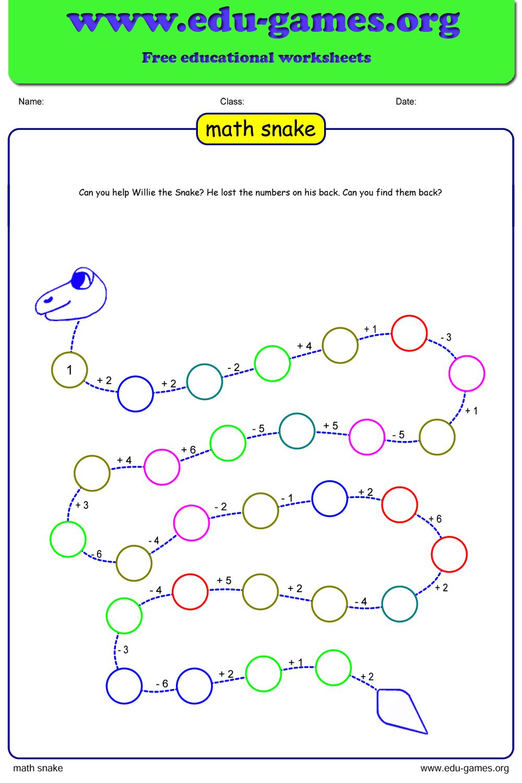 medium resolution of Free Math Snake Puzzle   Free Printable Worksheets