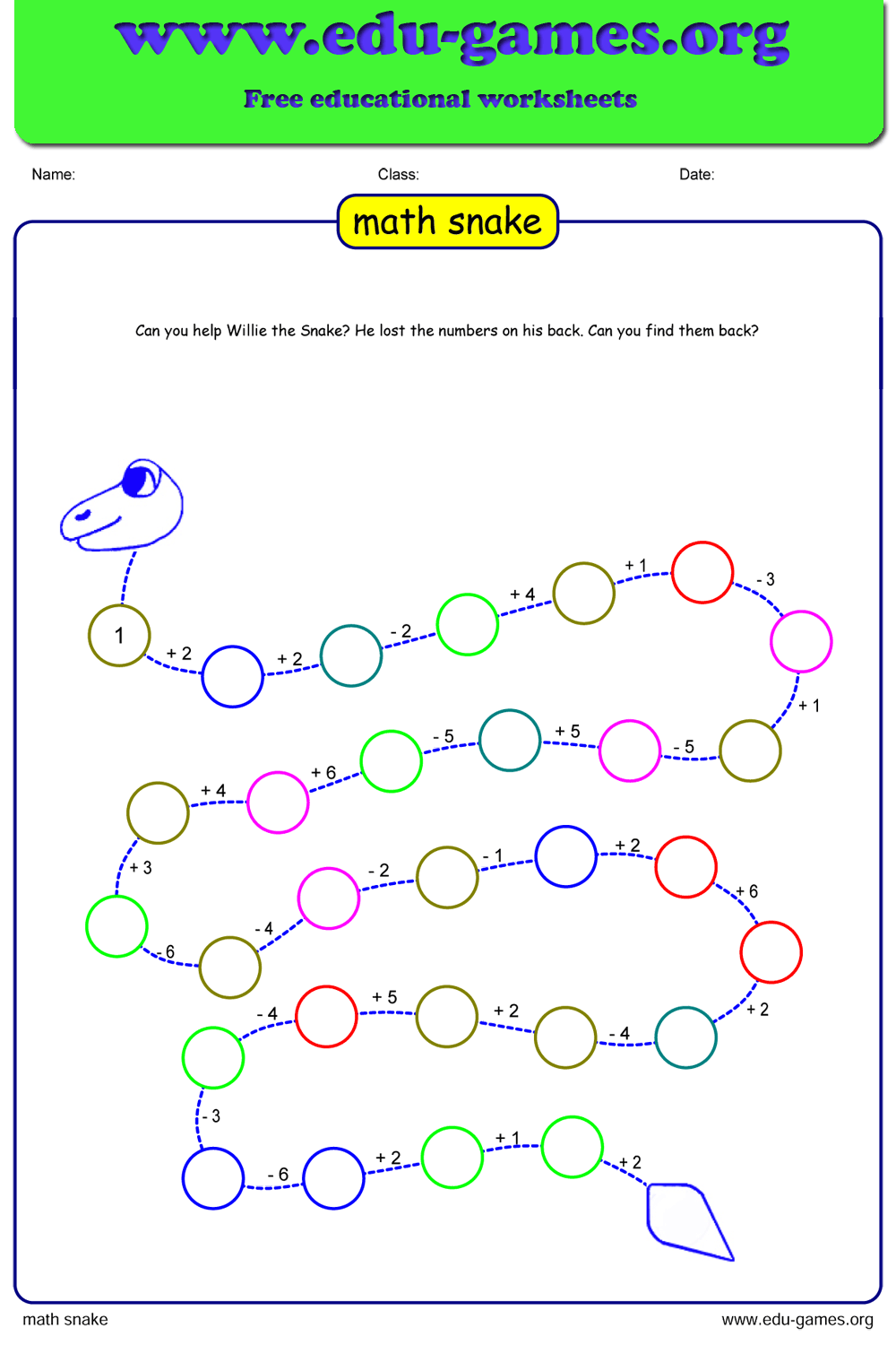 hight resolution of Free Math Snake Puzzle   Free Printable Worksheets