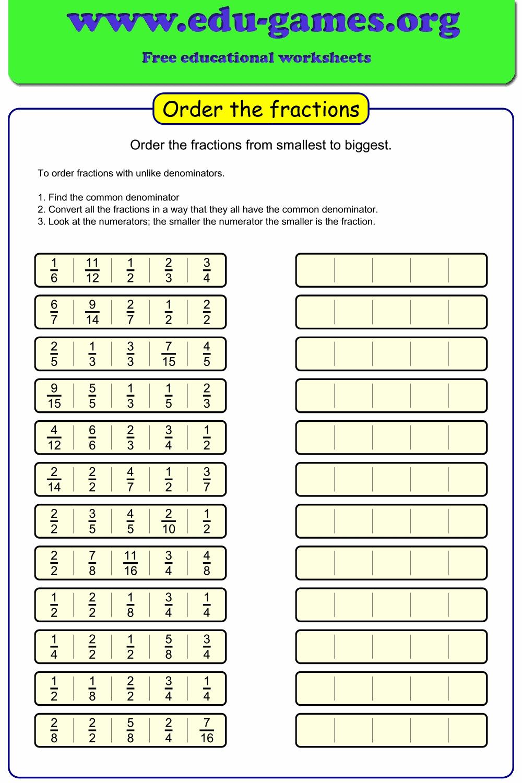 medium resolution of Ordering fractions unlike denominators worksheet.
