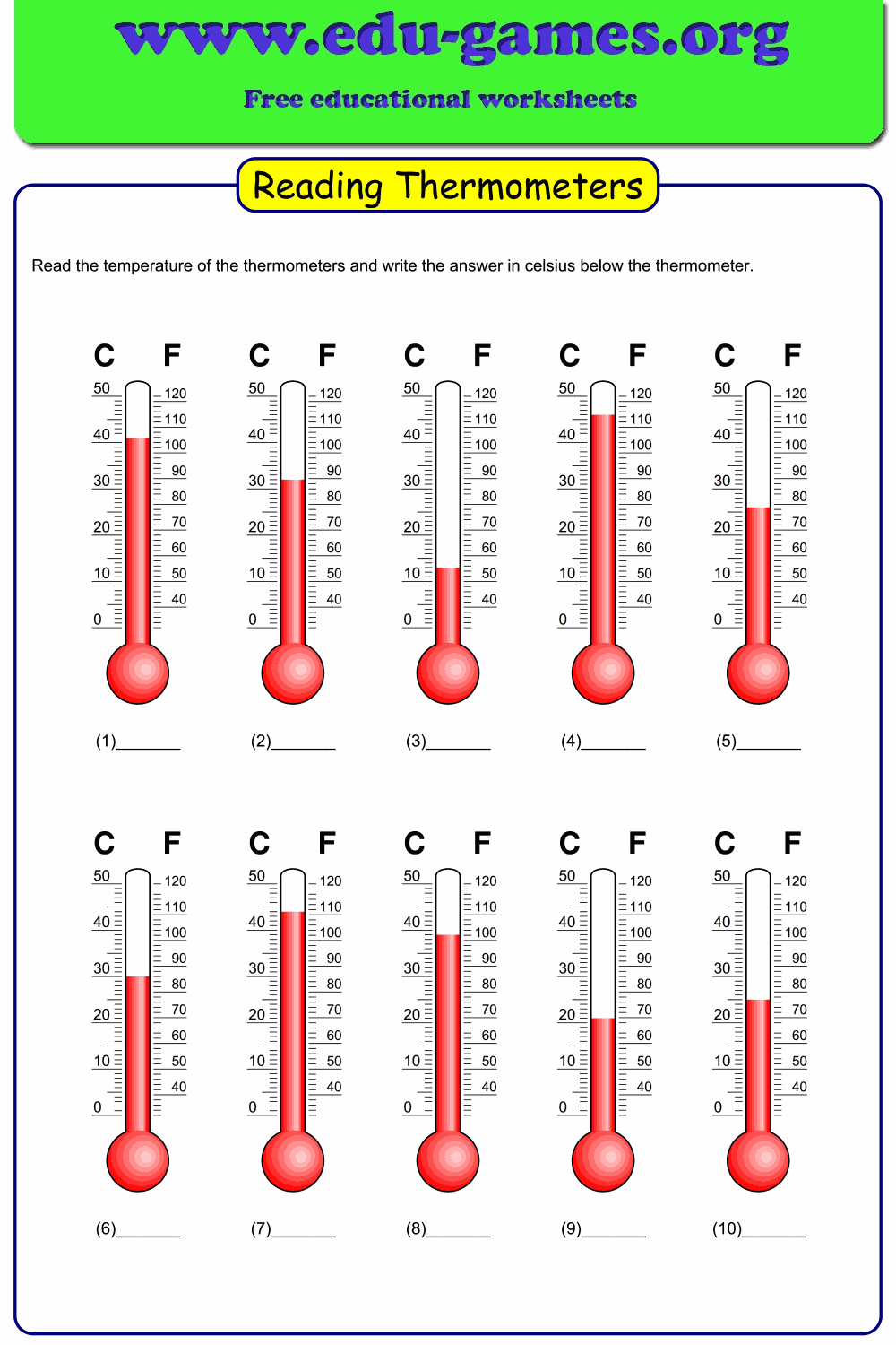 hight resolution of Reading temperature on thermometer worksheet maker