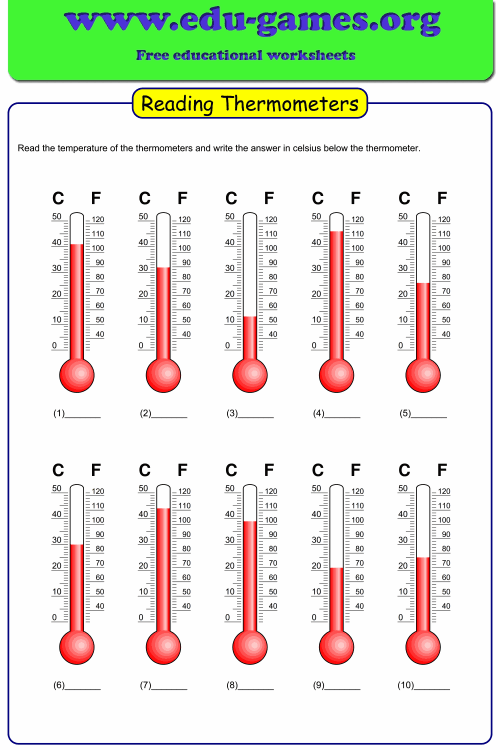small resolution of Reading temperature on thermometer worksheet maker