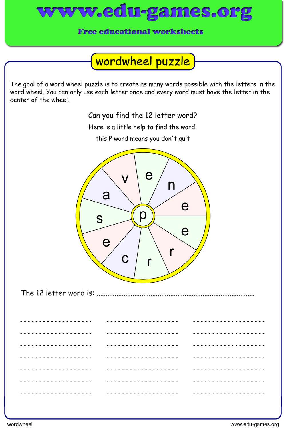 hight resolution of Word Wheel   Printable Puzzle Maker with Answers
