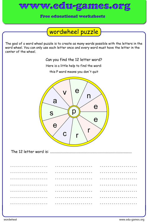 small resolution of Word Wheel   Printable Puzzle Maker with Answers